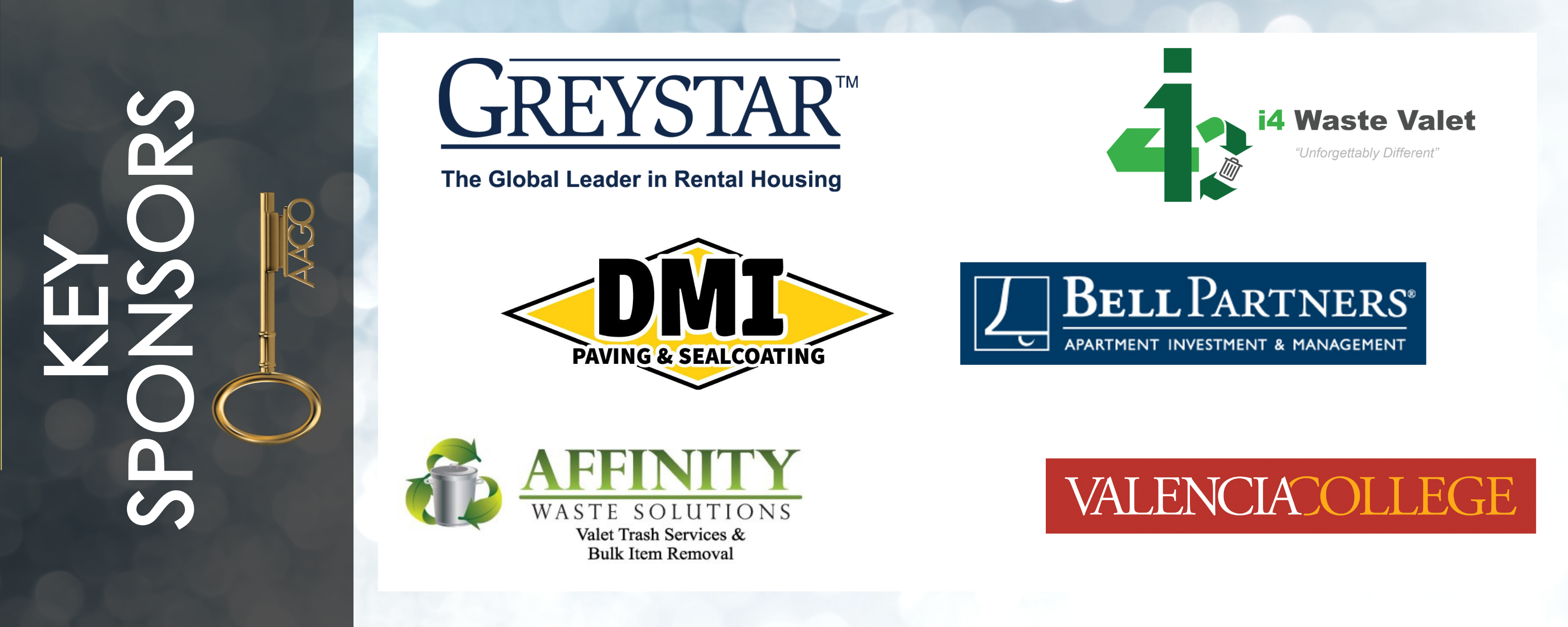 Key Sponsor Graphic Greystar, i4 Waste Valet, Valencia College, DMI Paving & Sealcoating, Affinity Waste, and Bell Partners