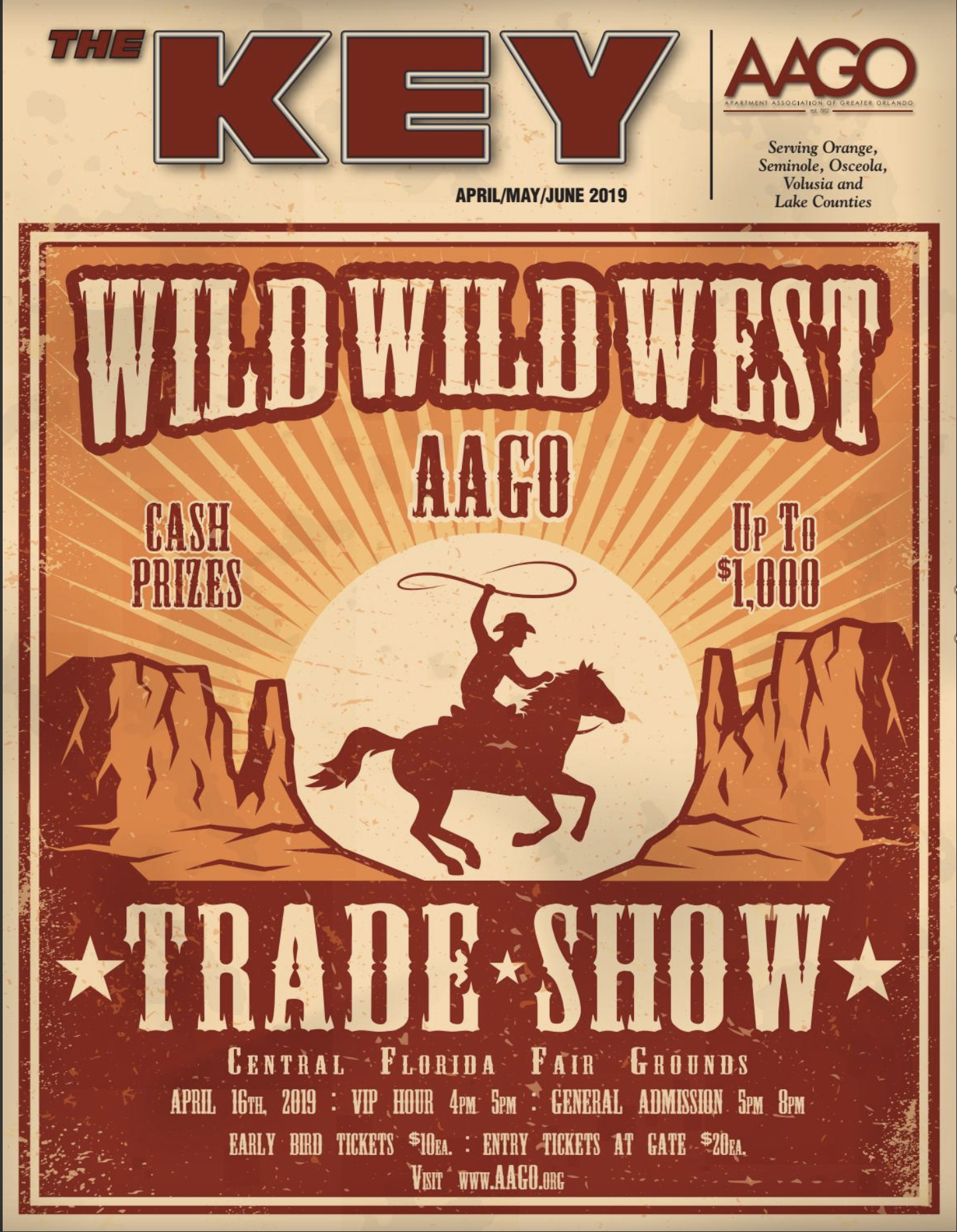 April 2019 Key Magazine Cover with Wild West Trade Show Theme