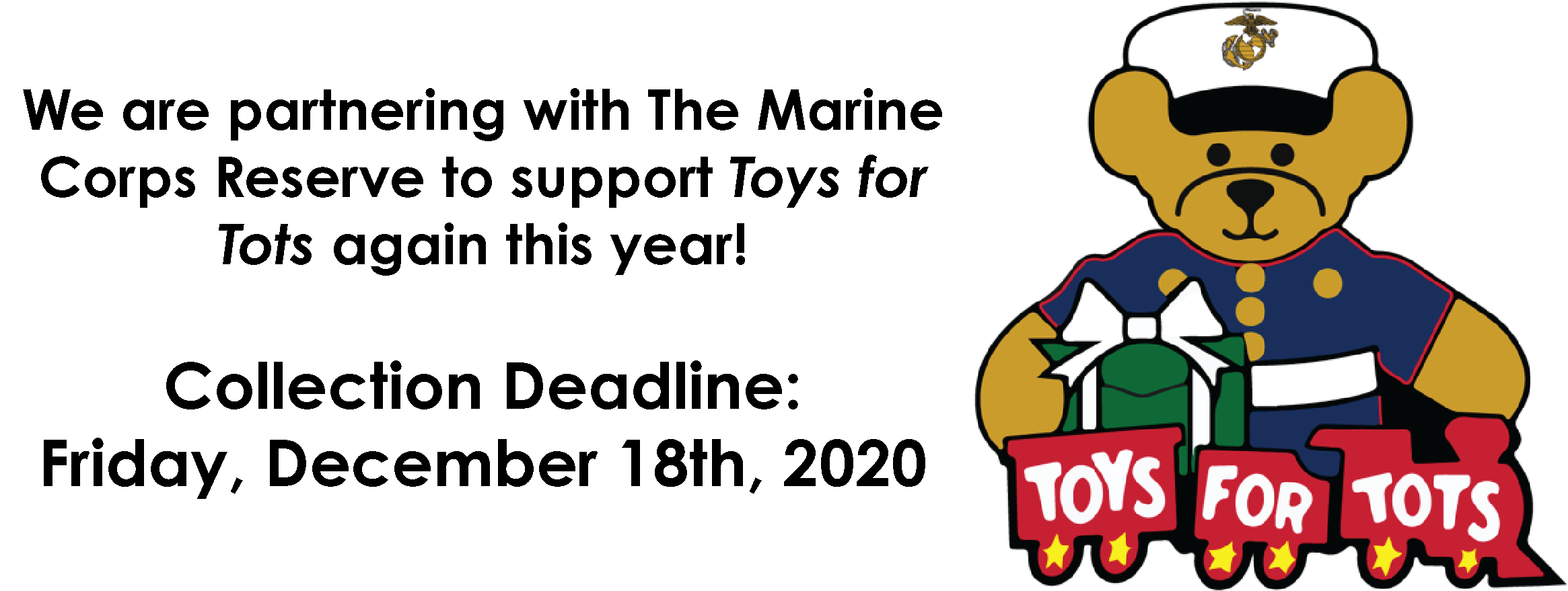 Toys for Tots Logo and note about deadline of December 18, 2020