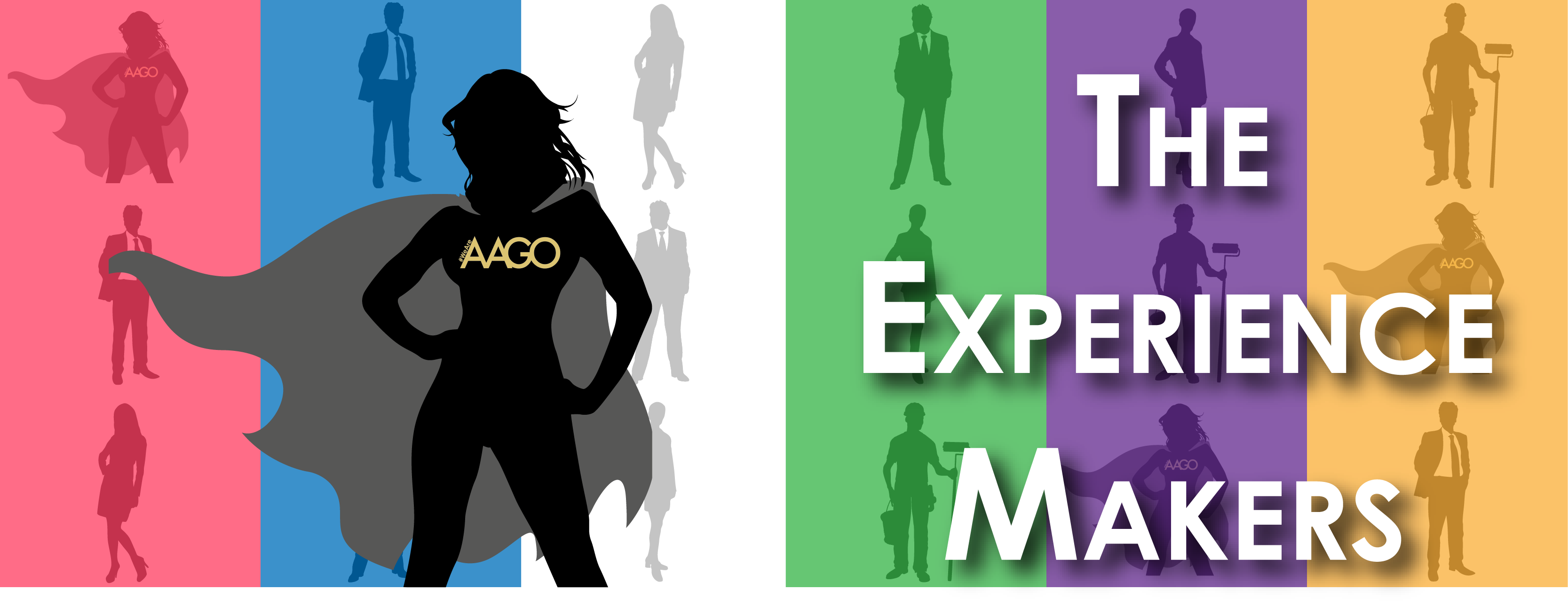 Experience makers backdrop image with super hero