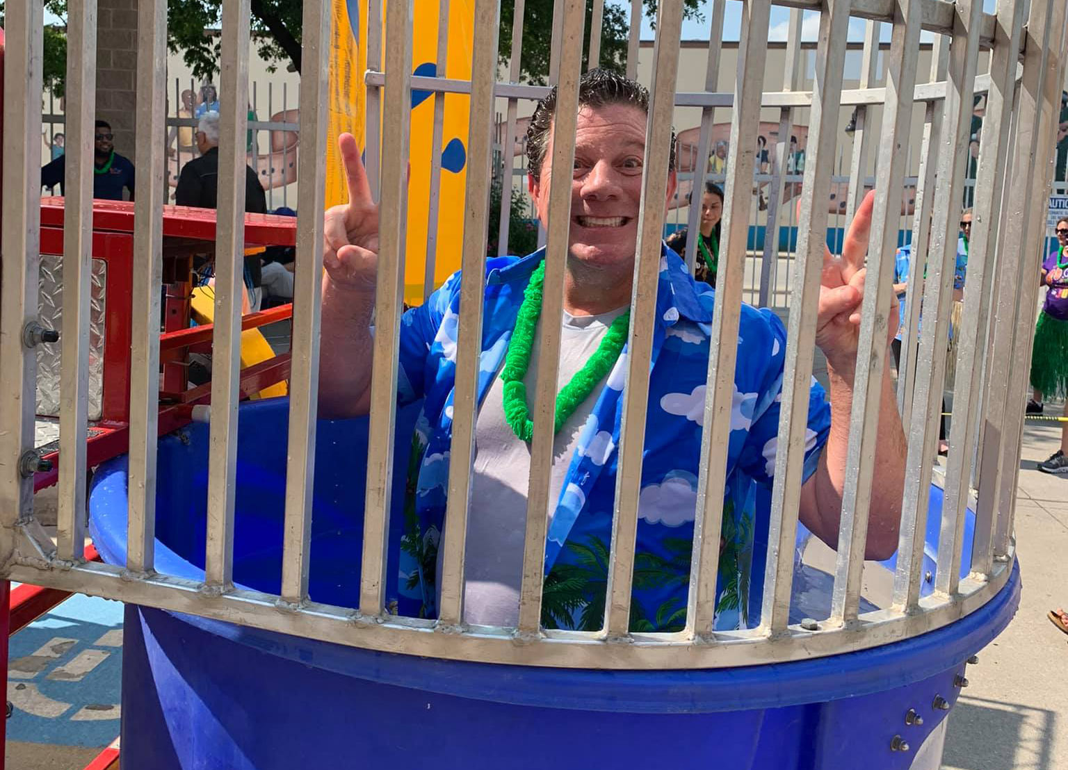 Bob Duff, AATC Community Service Committee Chair, stands ready at the Dunking Tank