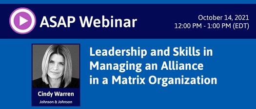 Leadership and Skills in Managing an Alliance in a Matrix Organization