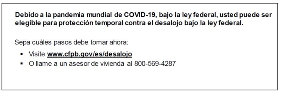 CFPB Notice Spanish