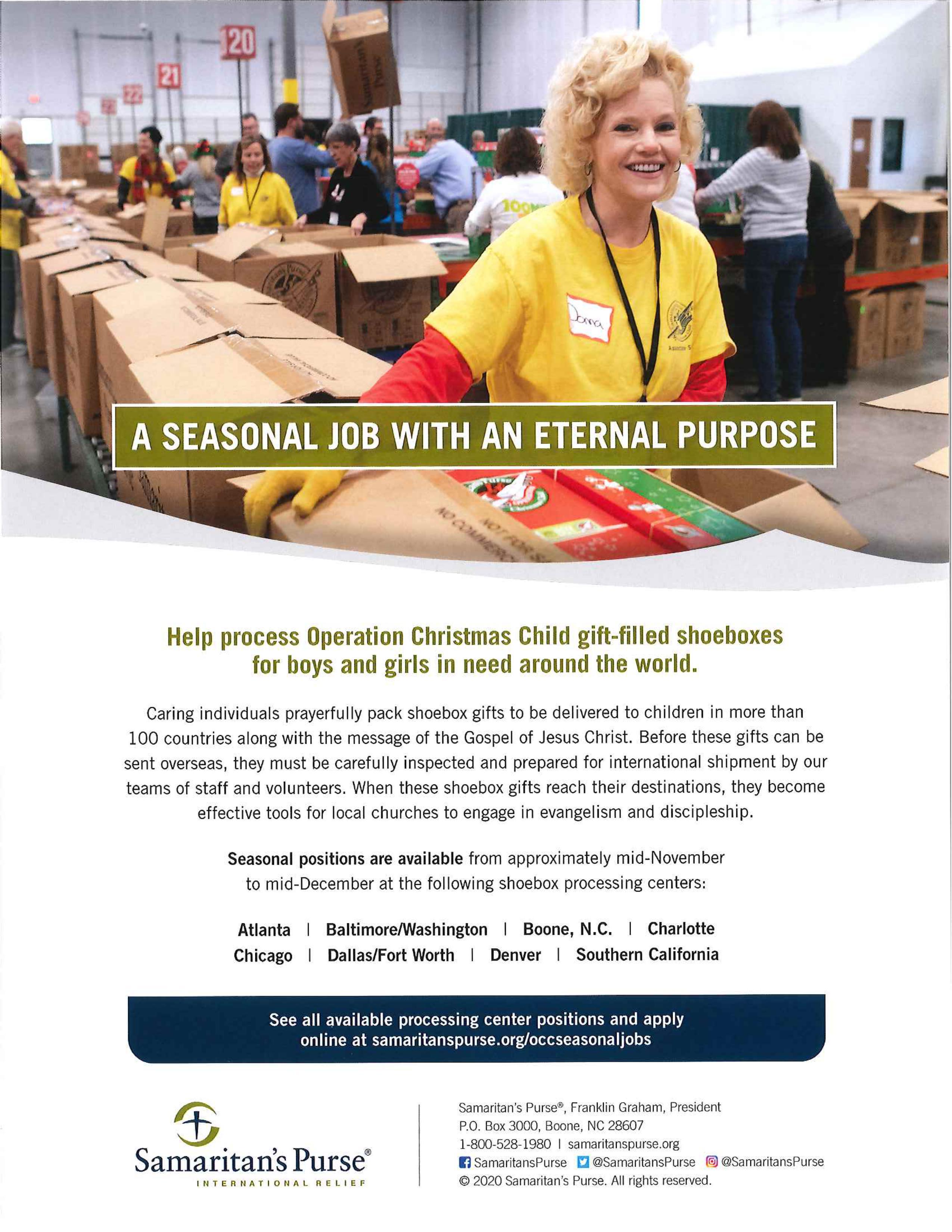 Christmas 2020 Volunteering Atlanta Job Opportunity: Samaritan's Purse, Operation Christmas Child