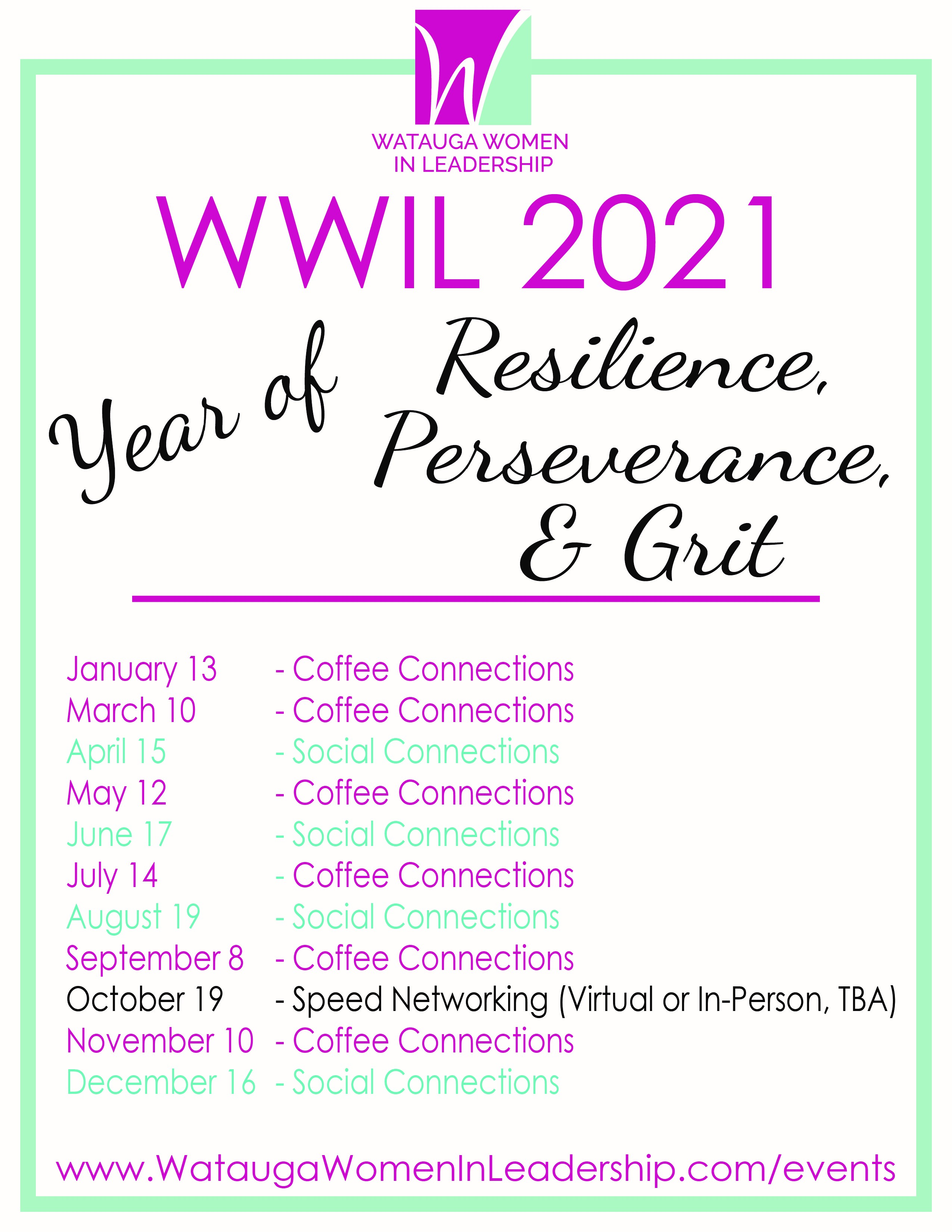 WWIL 2021 schedule of events