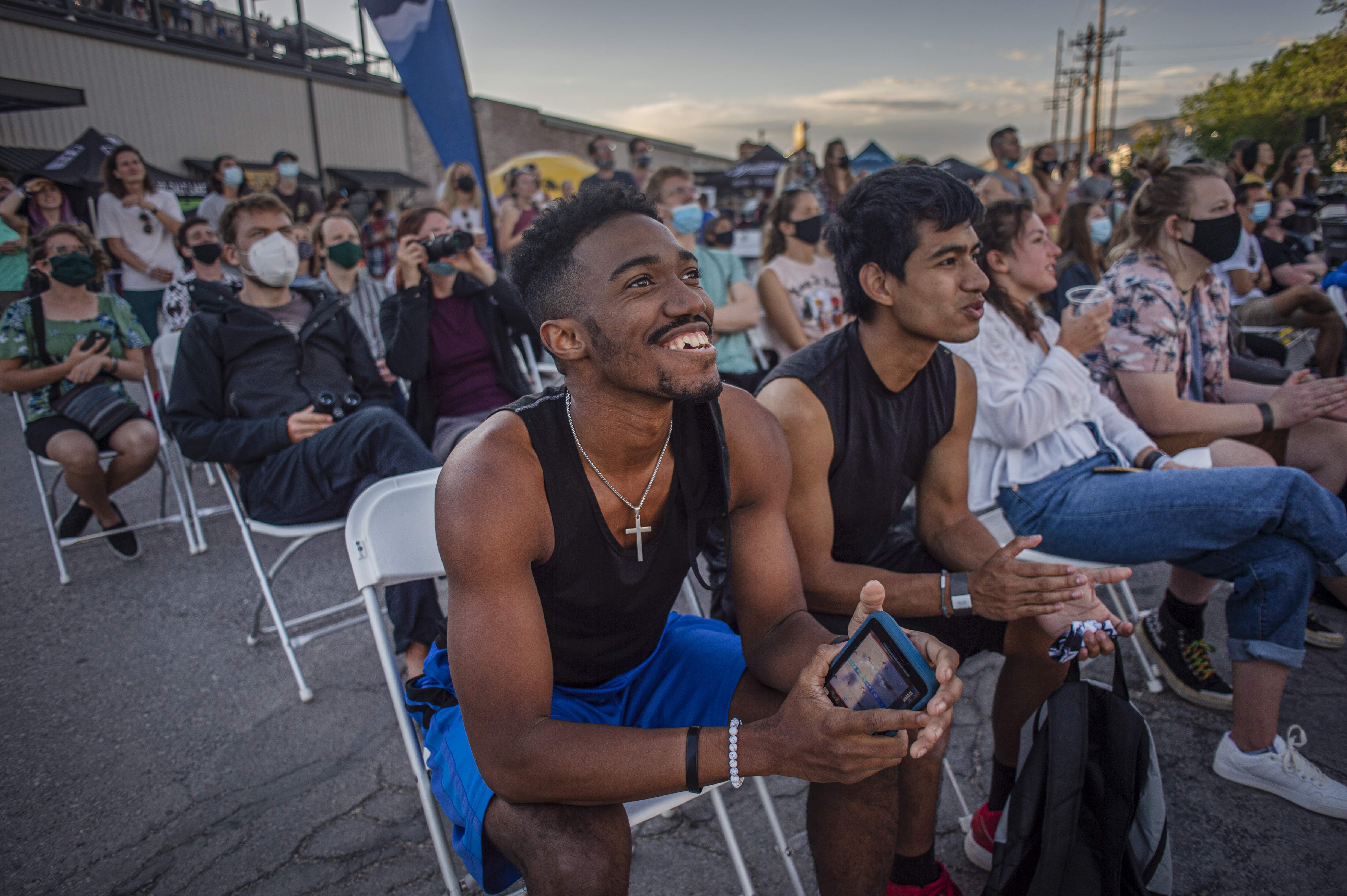 Attendee watches IFSC World Cup Climbing Event