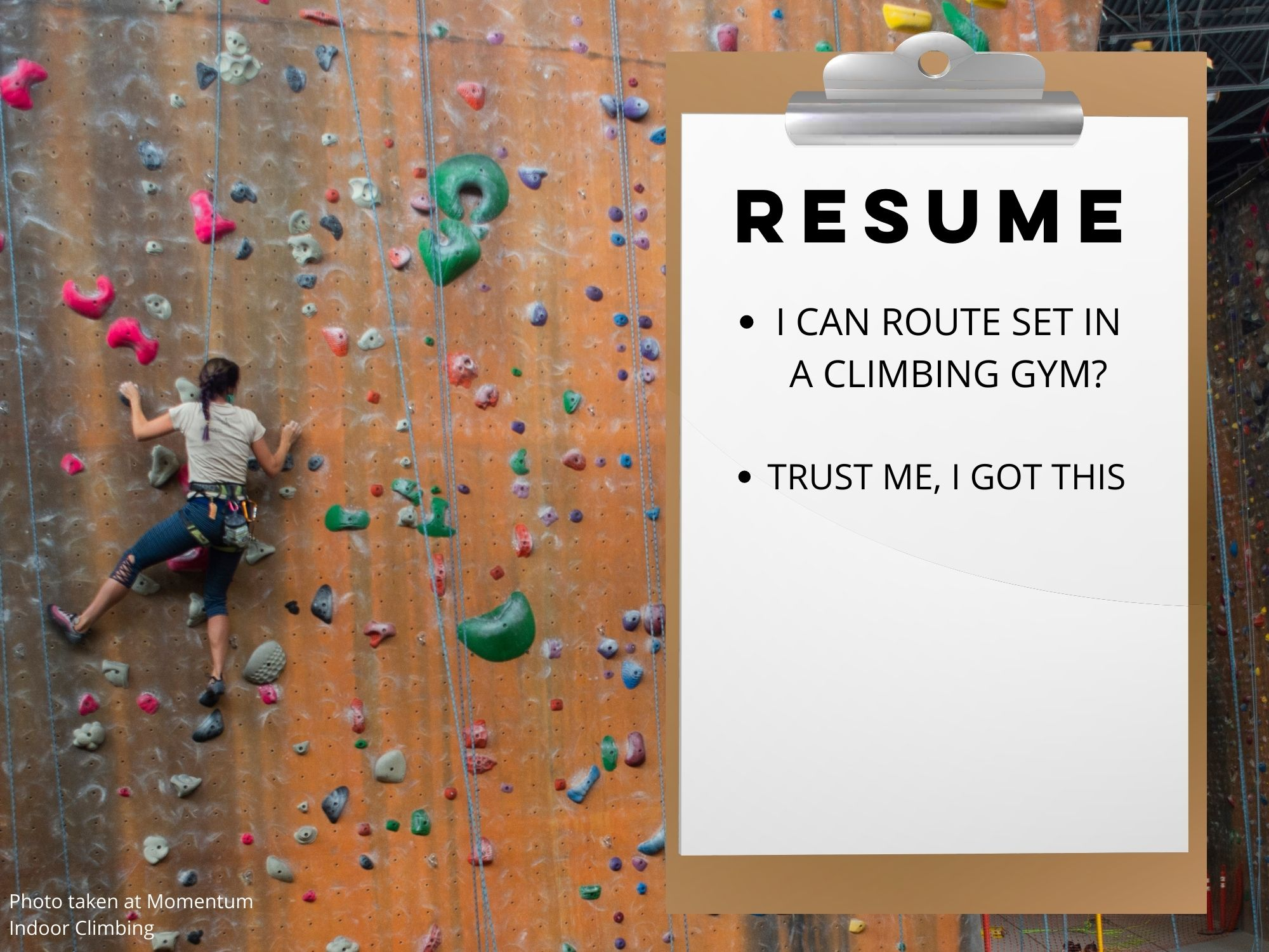 resume with rock climber