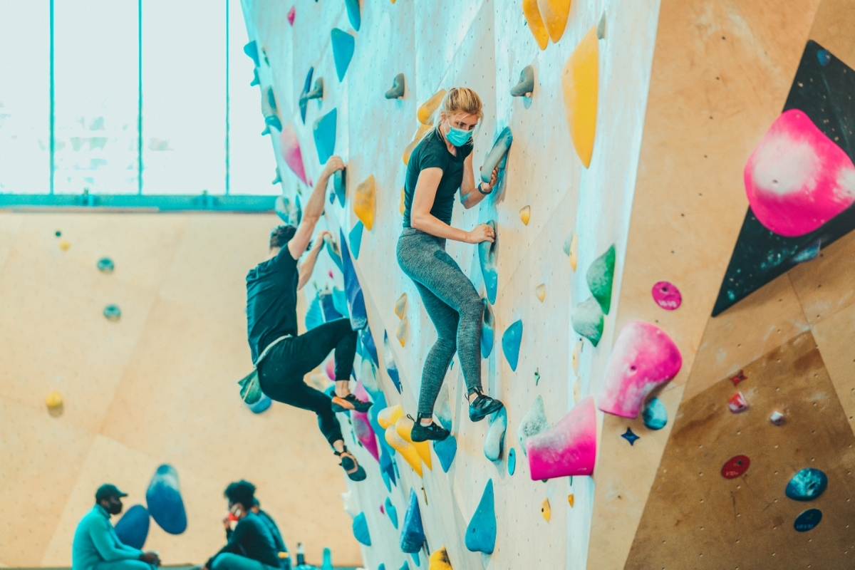 Indoor rock climbing with a mask