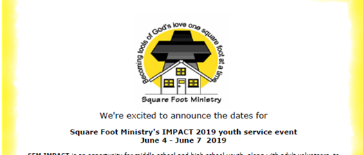 Square Foot Ministry's IMPACT 2019