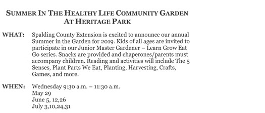 Summer in the Healthy Life Community Garden at Heritage Park