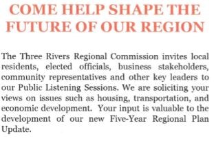 Three Rivers Public Listening Sessions