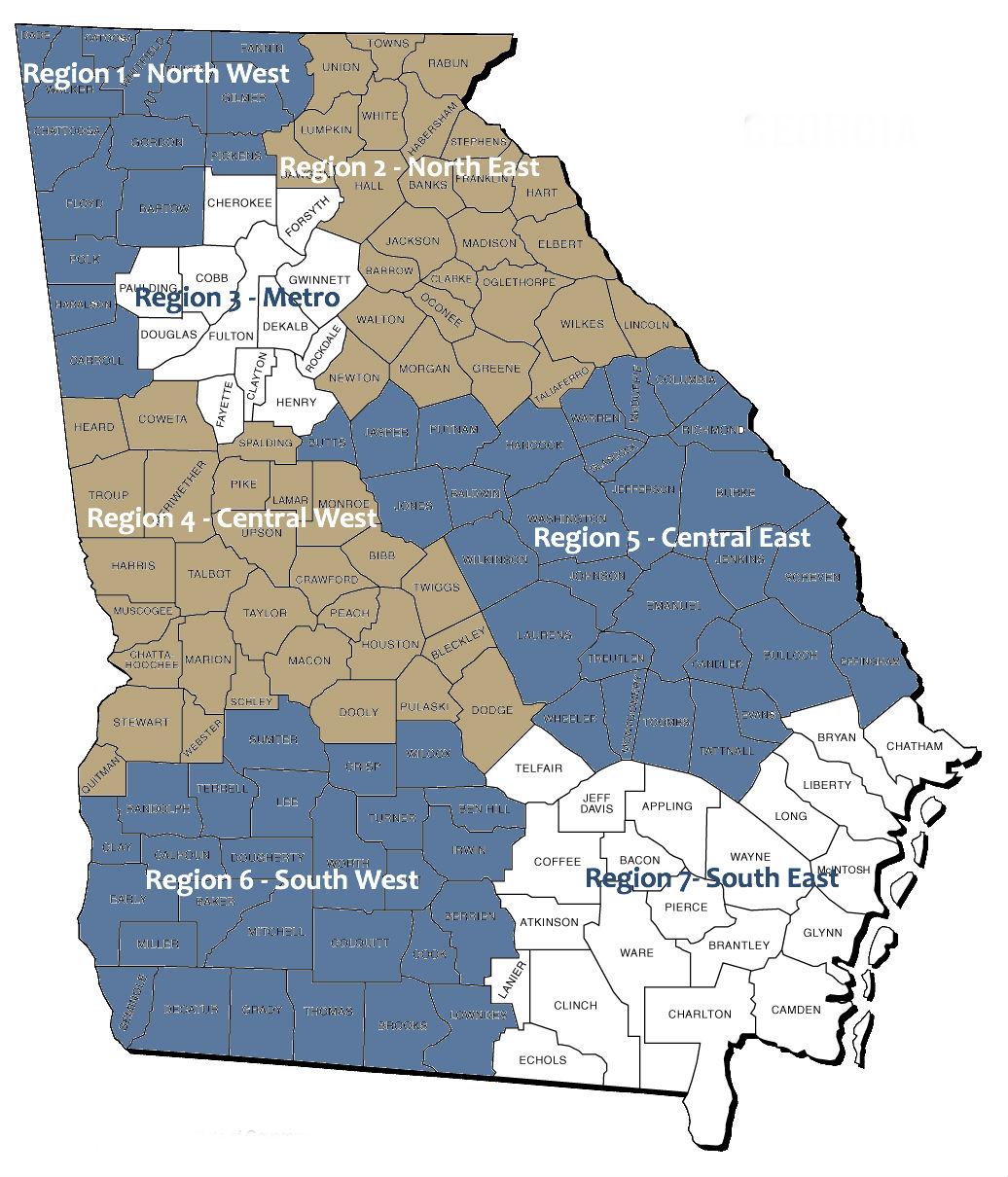 counties comprising regions