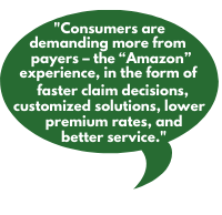 """Consumers are demanding more from payers – the """"Amazon"""" experience, in the form of faster claim decisions, customized solutions, lower premium rates, and better service."""