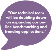 Our technical team will be doubling down on expanding our on-line benchmarking and trending applications.