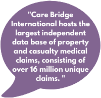 Care Bridge International hosts the largest independent data base of property and casualty medical claims, consisting of over 16 million unique claims.
