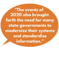 """""""The events of 2020 also brought  forth the need for many state governments to modernize their systems and standardize information."""""""