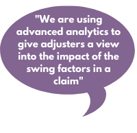 We are using advanced analytics to give adjusters a view into the impact of the swing factors of a claim