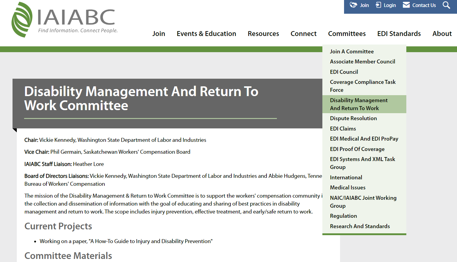 Disability Management and Return to Work Committee Page