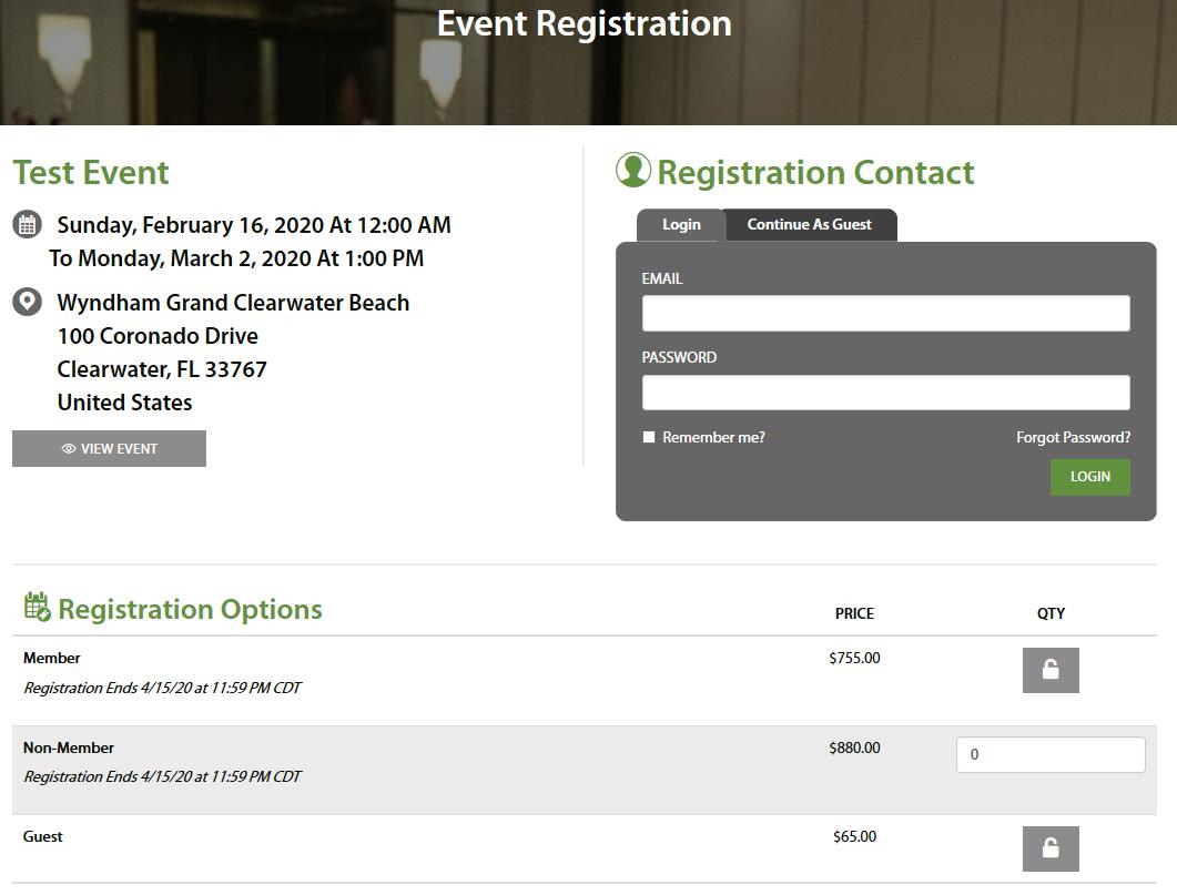 Event Registration Options
