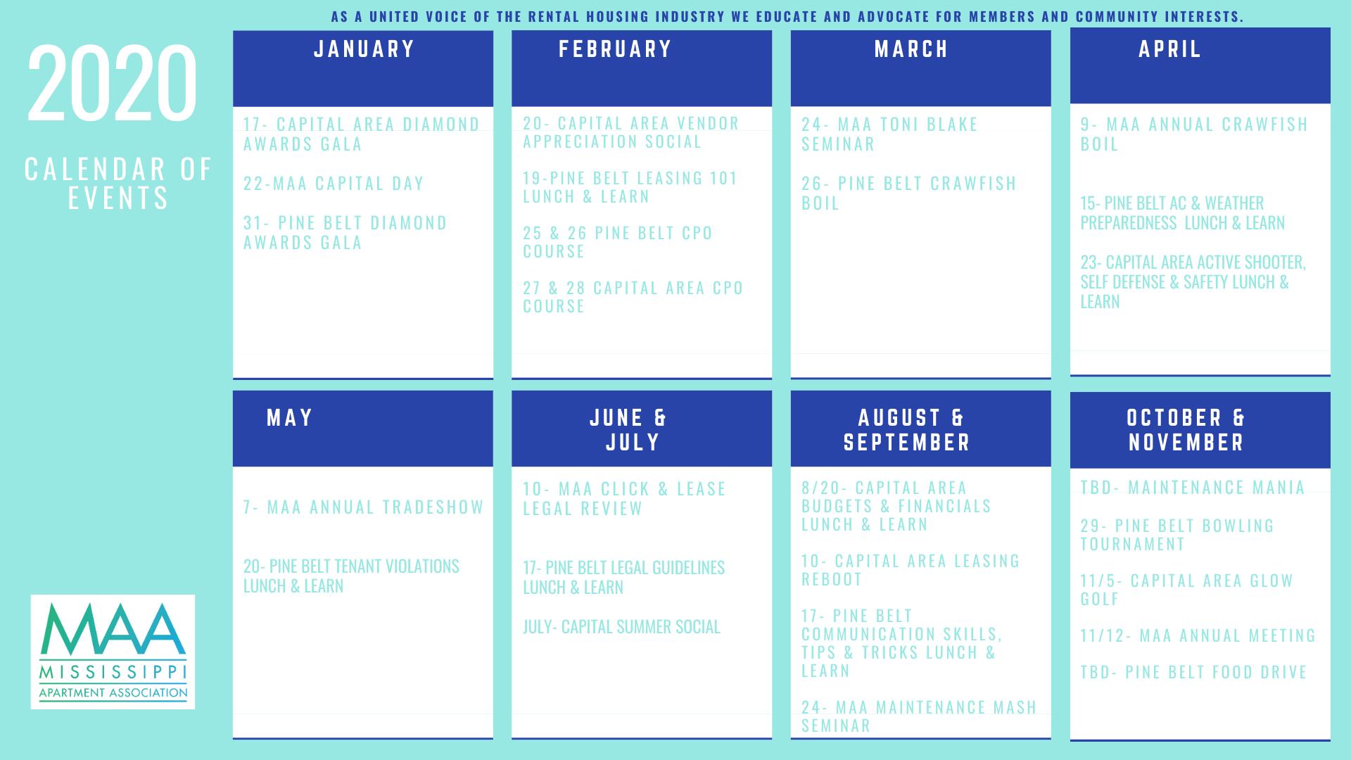 Events In Mississippi 2020.2020 Calendar Of Events Mississippi Apartment Association