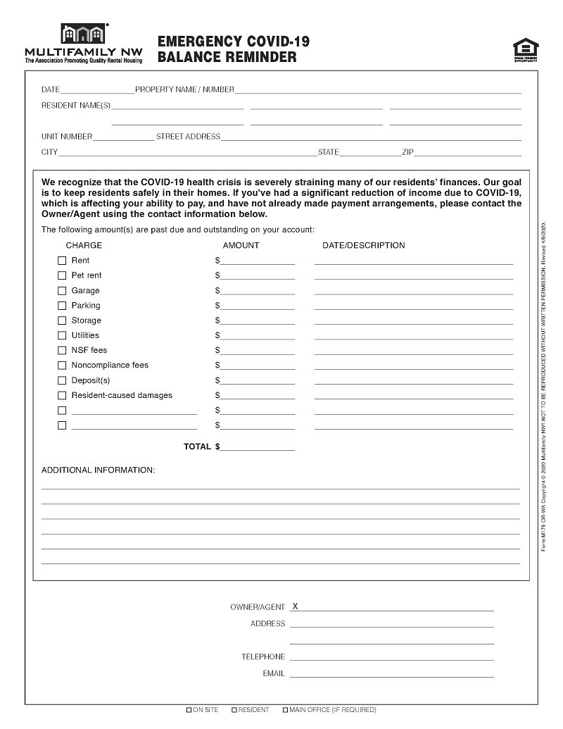 New Forms Rent Forbearance Request And Emergency Covid 19 Agreement Multifamily Nw