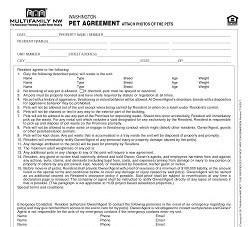 Washington Pet Agreement M006 WA [Packet of 25]