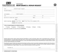 Washington Maintenance and Repair Request M010 WA [Single Copy]