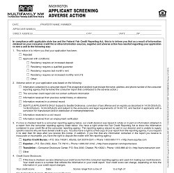 Washington Applicant Screening Adverse Action M030 WA [Single Copy]