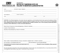 Washington Notice of Tampering/Failing to Maintain Alarm/Detector M041 WA [Packet of 25]