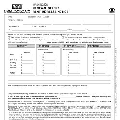Washington Renewal Offer/Rent Increase Notice M065 WA [Packet of 25]