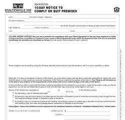 Washington 10-Day Notice to Comply with Lease or Quit Premises M123 WA [Packet of 25]