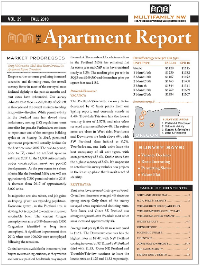 On Wednesday October 17th The Fall 2018 Apartment Report From Multifamily Nw Debuted At Sold Out Breakfast Oregon Convention