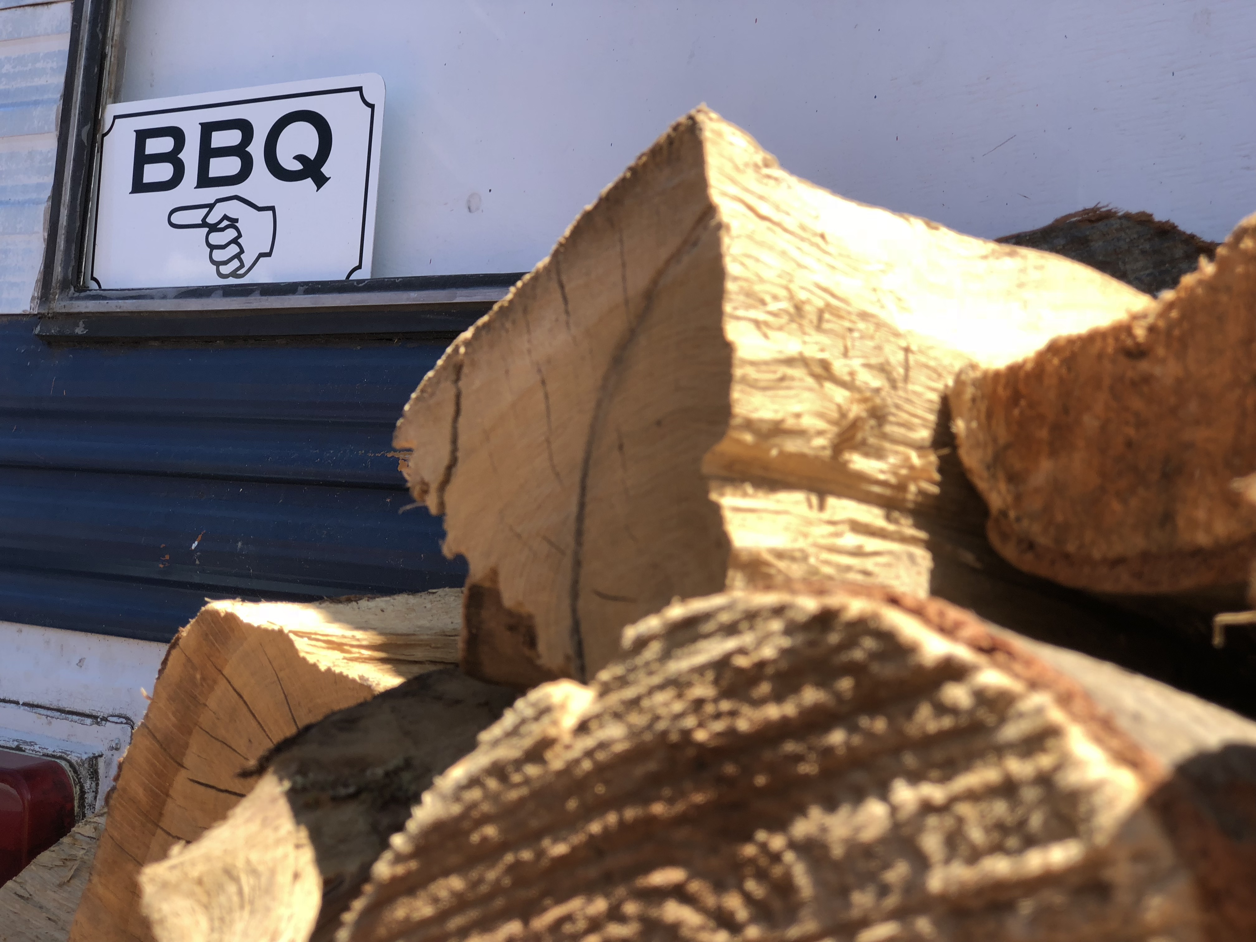 Matt's BBQ wood pile. Photo by Stover Harger.
