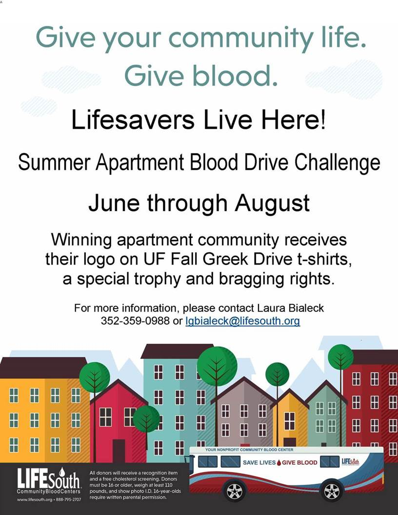 2018 Summer Apartment Blood Drive Challenge!
