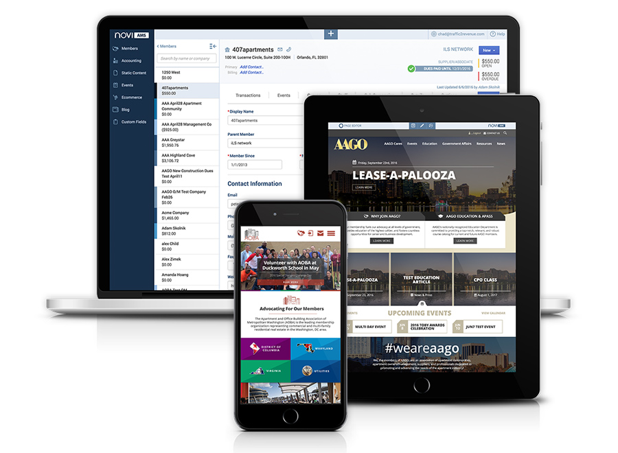 The AMS website included with a Novi AMS license is fully responsive (Mobile friendly), easy for association staff to update, customizable to meet the needs of associations, and powerful enough to give personalized member experiences that drive association engagement.