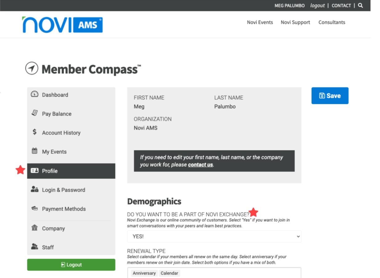 Opt in via member compass