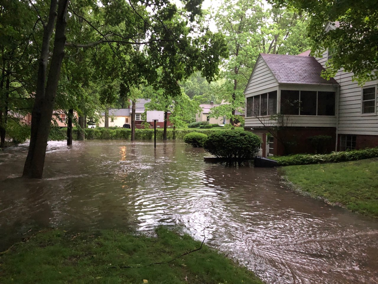 The same Township home as above, after flooding.