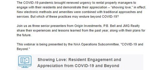 Showing Love: Resident Engagement and Appreciation from COVID-19 and Beyond