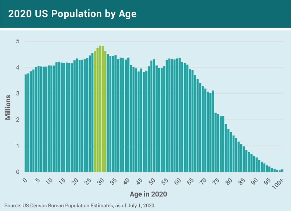 2020 US Population by Age