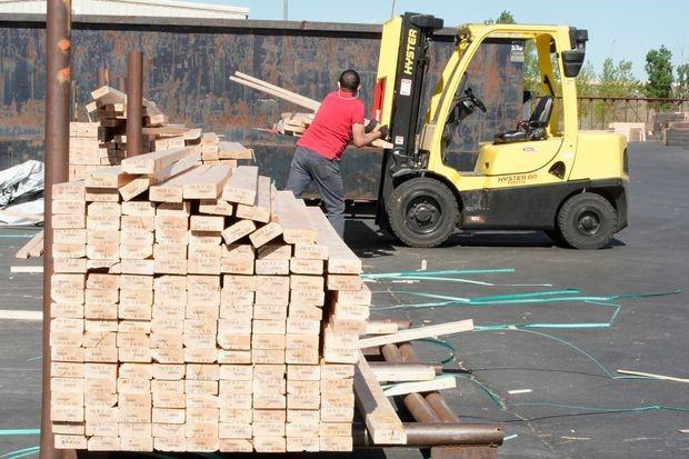 Bunk of lumber sitting outside