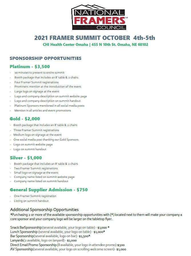 framer summit sponsorship flyer