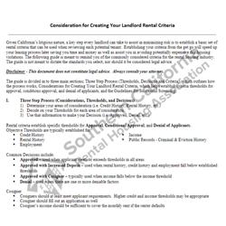 Digital #100 Creating Rental Criteria Worksheet