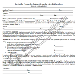 Digital #120 Receipt for Prospective Resident Screening - Credit Check Fees