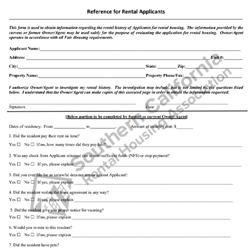 Digital #140 Reference Form for Rental Applications