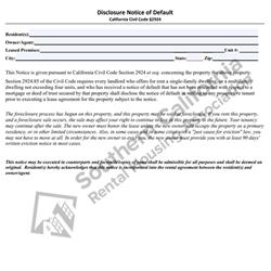 Digital #281Disclosure Notice of Default – Foreclosure