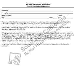 Digital #290AB 1482 Just Cause and Rent Limit Exemption Addendum