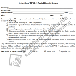 Digital #299 Declaration of COVID-19 Related Financial Distress