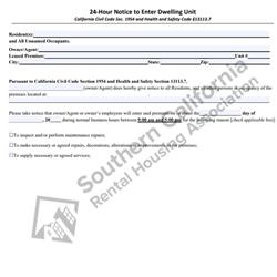 Digital #30024 Hour Notice to Enter Dwelling Unit