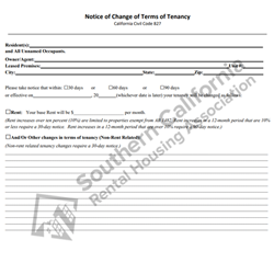 Digital #350 Notice of Change of Terms of Tenancy