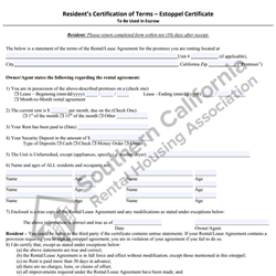 Digital #390 Resident's Certification of Terms – Estoppel Contract